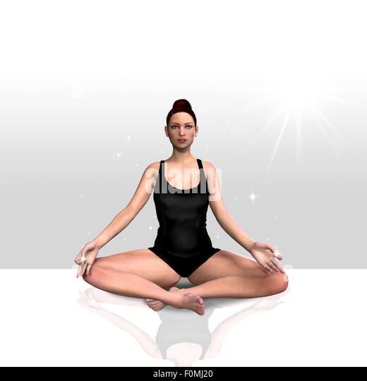 3d render of a female doing yoga over a clean background - Stock Image