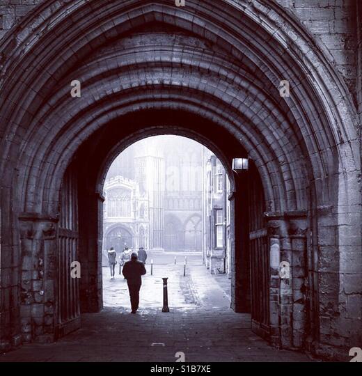 Gateway through to Peterborough Cathedral, Cambridgeshire. - Stock Image