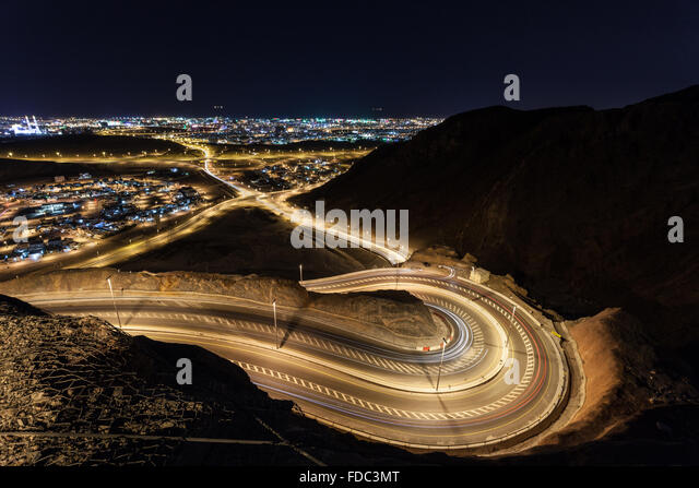 Winding road in Muscat, Oman - Stock Image