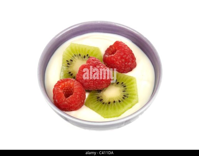 Yogurt with Kiwi Fruit and Raspberries - Stock Image