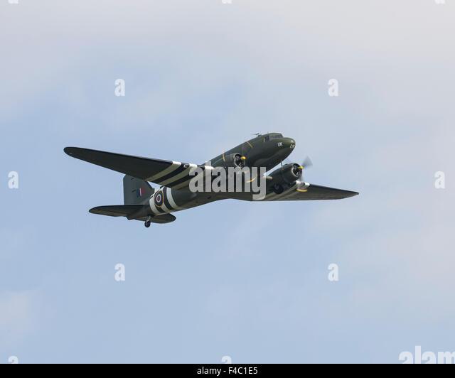 Battle of Britain Memorial Flight C-47 Dakota flying at Shuttleworth in October 2015 - Stock Image