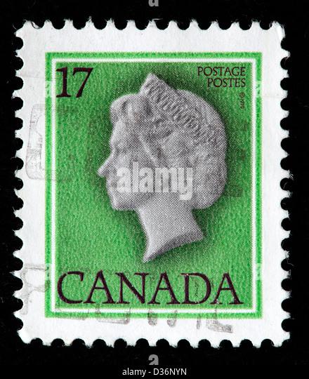 Queen Elizabeth II, postage stamp, Canada, 1977 - Stock Image