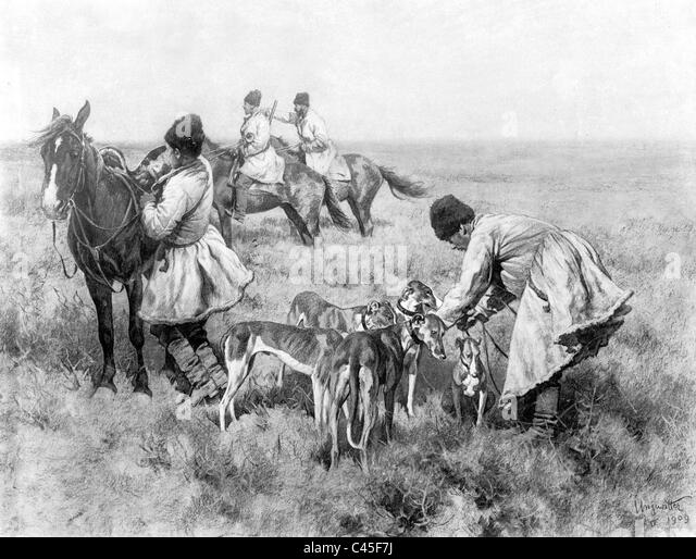 'Beginning of the Hunt' - painting by Hugo Ungewitter - Stock-Bilder