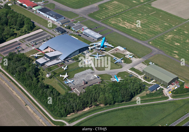 The Netherlands, Lelystad, Airplane museum called Aviodrome. Aerial. - Stock Image