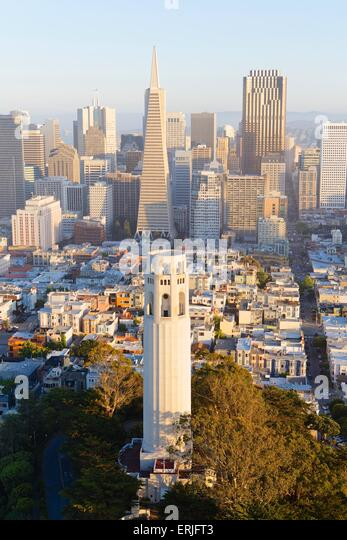 Aerial view over San Francisco and Coit Tower at sunset - Stock Image