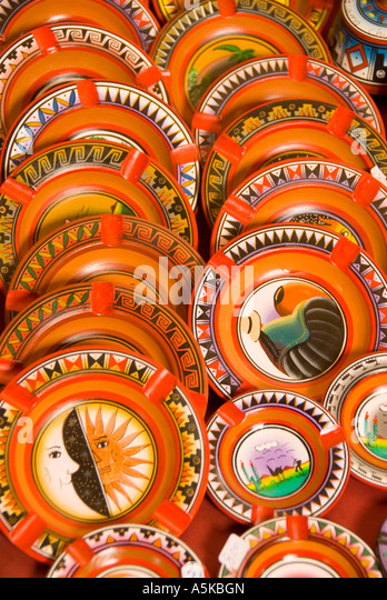 Chile San Pedro de Atacama shopping colorful decorative plates - Stock Image
