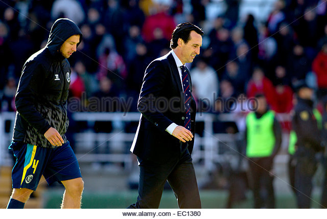 SPAIN, Madrid: Sevilla FC´s's Spanish coach Unai Emery celebrates victory at the end of the Spanish League - Stock Image