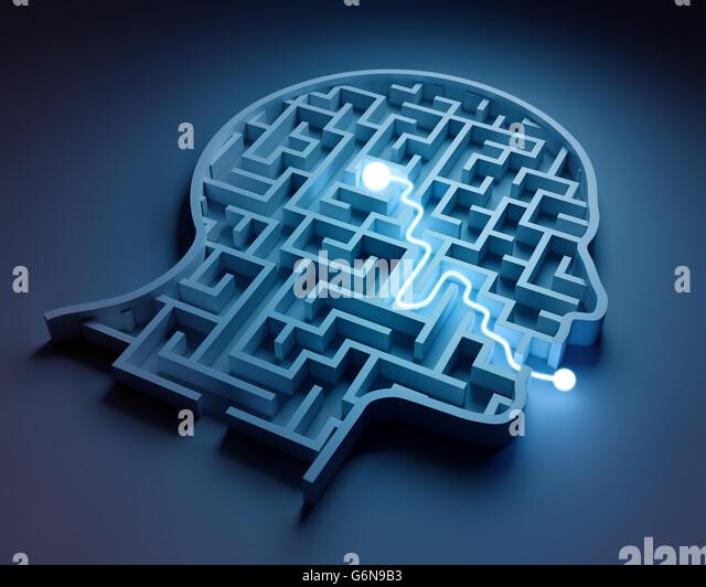 Maze inside a head - from brain to speech - Stock-Bilder