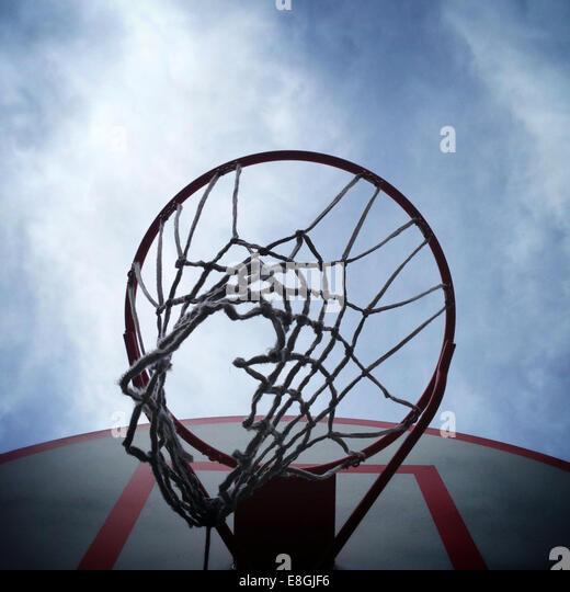 USA, New York State, New York City, Basketball hoop - Stock Image