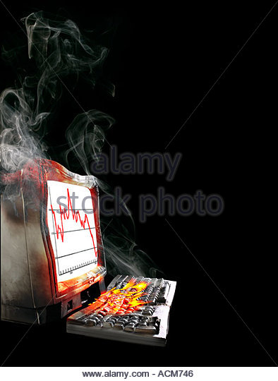 Computer and monitor melt down - Stock Image