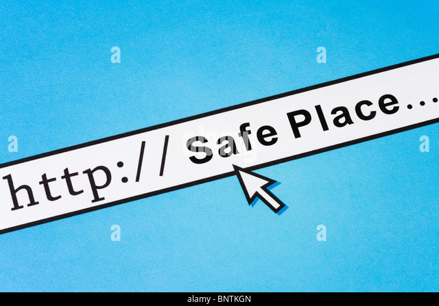 concept of online Safe Place, Social Issues - Stock Image