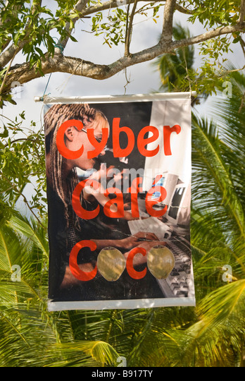 Cyber cafe sign at Bayahibe fishing village Dominican Republic southeast coast popular tourist destination - Stock Image