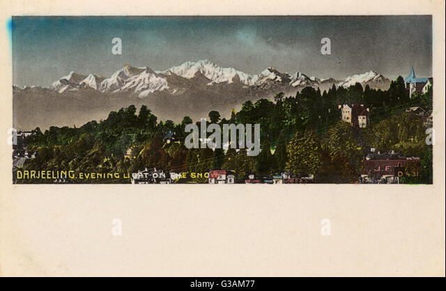 Evening light on snow-capped mountains - Darjeeling, West Bengal, India.     Date: circa 1905 - Stock Image