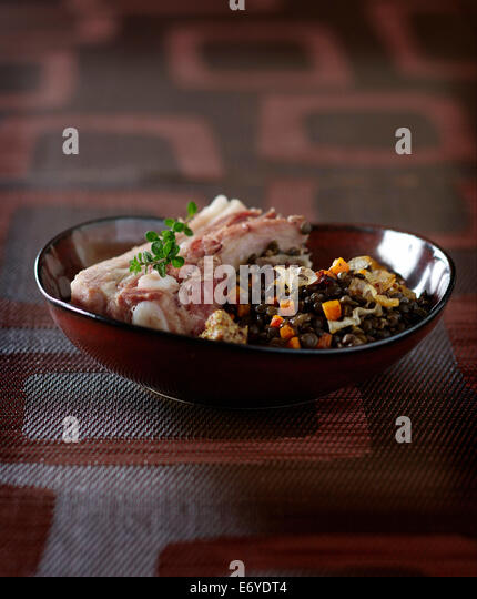 Salt pork with lentils - Stock Image
