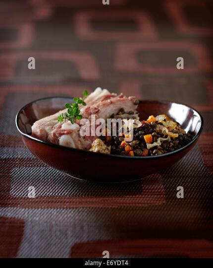 Salt pork with lentils - Stock Image