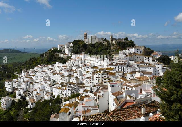 Casares white village Pueblo blanco, Costa del Sol, Malaga province, Andalucia Spain - Stock Image