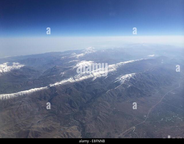 Iran, Aerial view of Alborz mountain range - Stock Image
