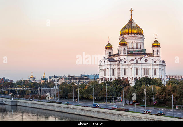 Cathedral of Christ the Saviour and Moskva River, Moscow, Russia, Europe - Stock Image