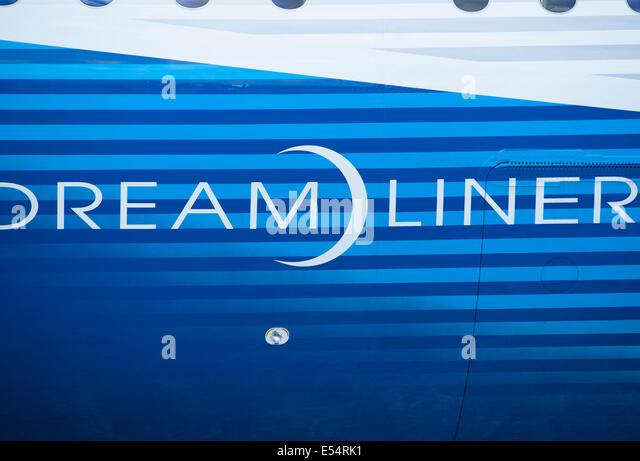 Boeing Dreamliner Fuselage, Farnborough International Airshow 2014 - Stock Image