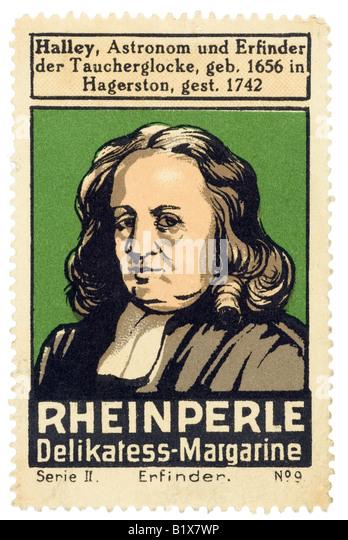 trading stamp margarine Halley Astronom und Erfinder der Taucherglocke geb 1656 in Hagerston gest 1742 Reinperle - Stock Image