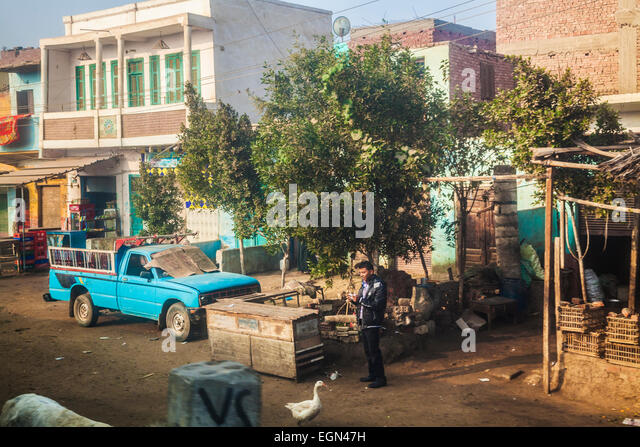 An Egyptian village in the rural countryside between Luxor and Cairo. - Stock-Bilder