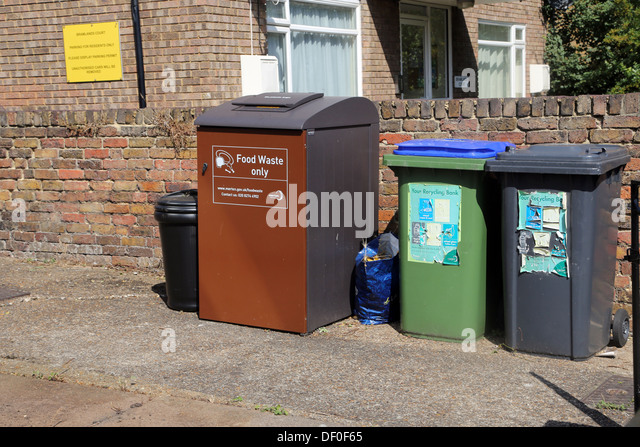 Wimbledon London England Food Waste And Recycling Bins - Stock Image