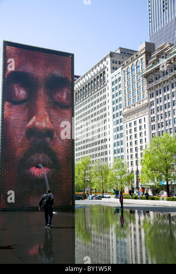 The Crown Fountain interactive public art and video sculpture in Millennium Park, Chicago, Illinois, USA. - Stock Image
