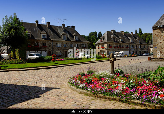 The village of Lonlay l'Abbaye in the department of Orne, Normandy, France - Stock Image