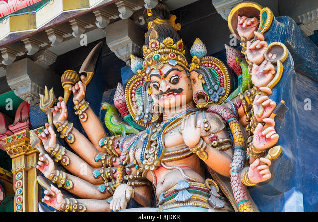 MEENAKSHI AMMAN TEMPLE VERY DETAILED VIEW OF THE STATUE OF A DEMON ON THE TEMPLES - Stock Image