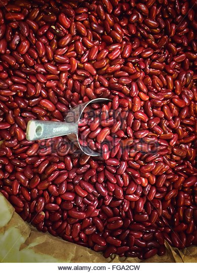 High Angle View Of Kidney Beans In Container - Stock Image