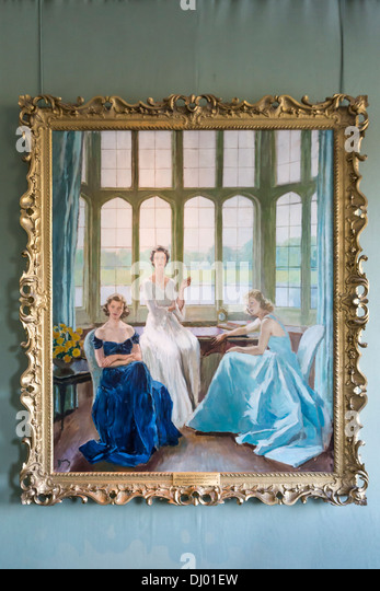 Painting in Leeds Castle depicting The Honourable Lady Baillie 1899-1974 and her Daughters Susan and Pauline. - Stock Image