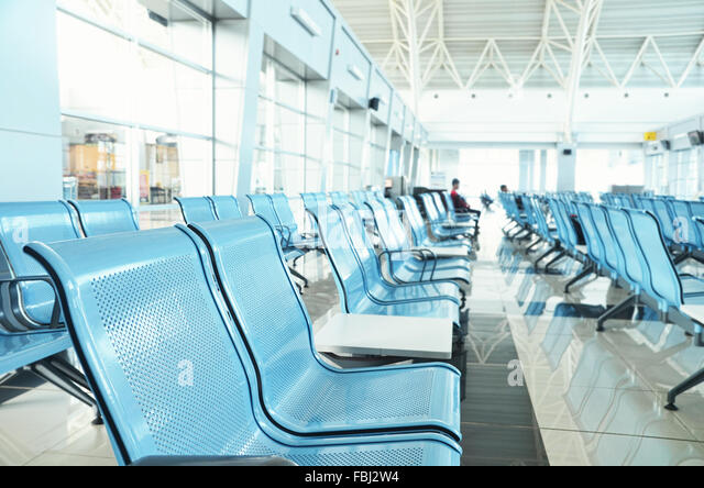 Departure waiting room of Kalimarau airport - Stock Image