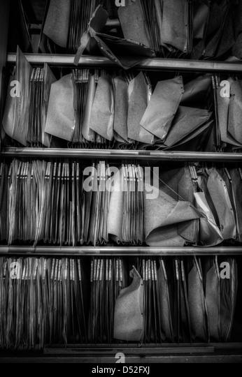 Old archive in abandoned psychiatric hospital - Stock-Bilder