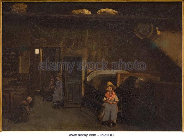 Camille Corot Intérieur au Mas-Bilier 1850 XIX th century - Stock-Bilder