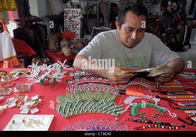 Panama City Panama Panama Viejo Ruinas Panama La Vieja handicrafts Kuna Indian market vendor beads jewelry indigenous - Stock Image