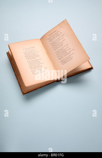 open book on blue - Stock Image