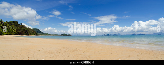 Sandy beach, Pasai Beach, Koh Yao Noi, Phang Nga, Thailand, Southeast Asia, Asia - Stock Image