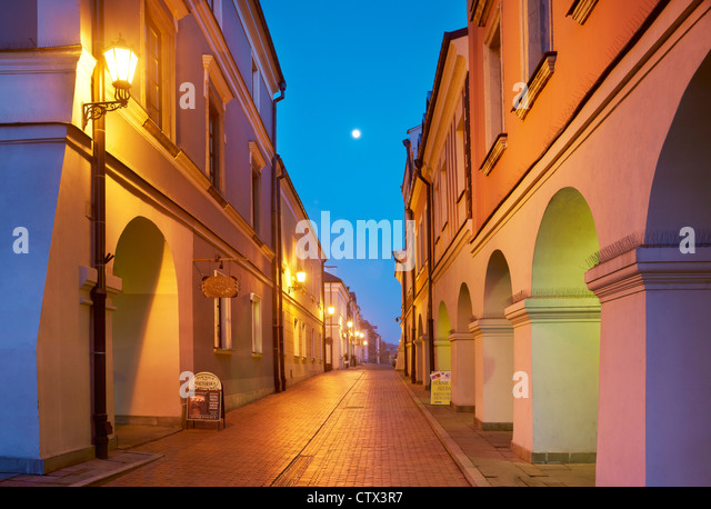 Zamosc, historic houses on the Old Market, Unesco, Poland, Europe - Stock Image
