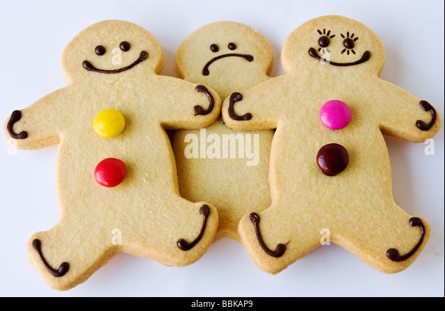 A jealous gingerbread man - Stock Image