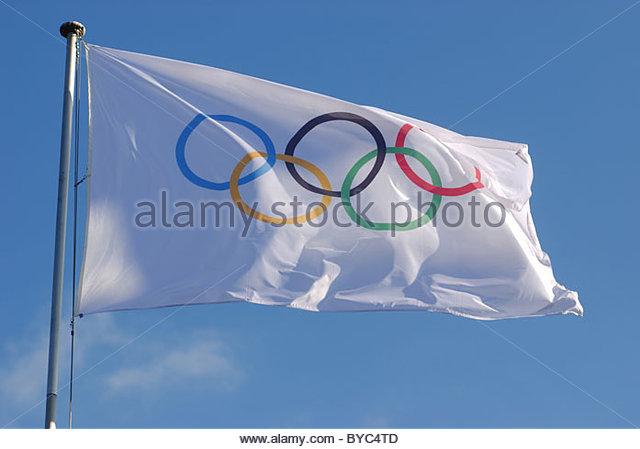 General - Olympic presence in Lausanne Switzerland. Olympic flag near the IOC buildings in Vidy. - Stock Image