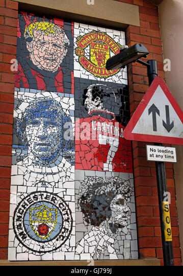 Afflecks Palace Manchester - Football Mosaic art MUFC MCFC - Stock Image