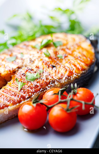 crispy grilled salmon steak - Stock Image