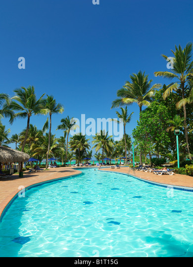 Dominican Republic Punta Cana Bavaro Beach pool at resort - Stock Image