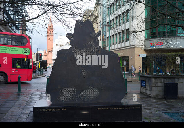 Tony Hancock artwork in Old Square Birmingham - Stock Image