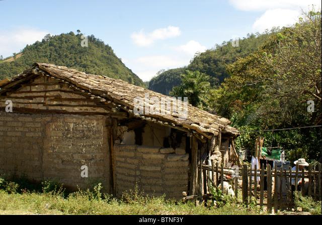 Typical rural Honduran house in the Lenca Indian village of La Campa, Lempira, Honduras - Stock Image