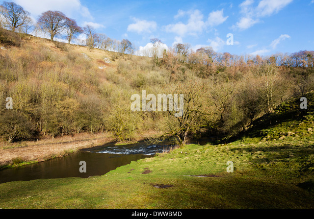 River Wye at Millers Dale, Peak District, Derbyshire, England - Stock Image