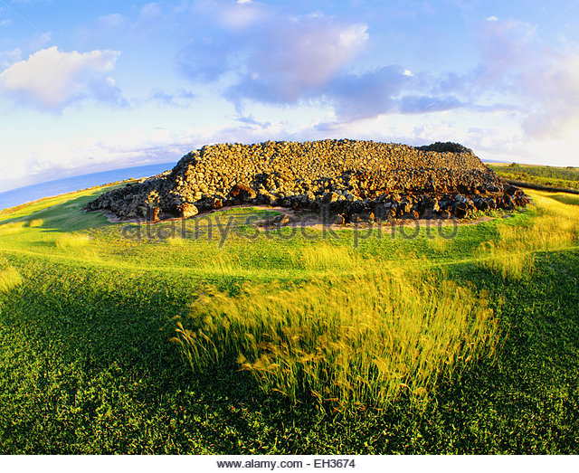 Mo'okini Heiau, a luakini heiau, or human sacrifice temple. The Big Island, Hawai. - Stock Image