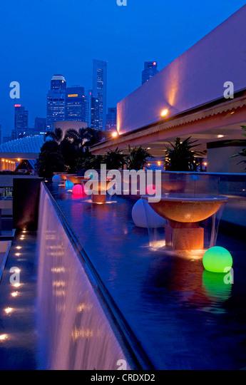 Singapur at night, Singapore - Stock Image