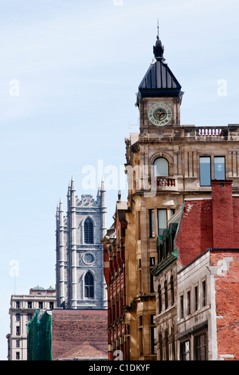 Heritage buildings including Notre-Dame Cathedral in Montreal (Quebec, Canada) - Stock Image