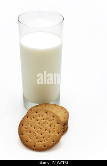 Digestive Biscuits and Glass of Milk - Stock Image